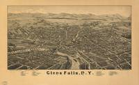 Vintage Pictorial Map of Glens Falls NY (1884)