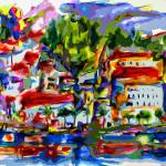 """Abstract Amalfi Italy Travel Modern Decor"" by GinetteCallaway"