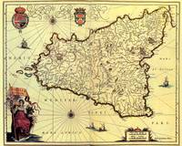 Vintage Map of Sicily Italy (1600s)