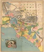 Vintage Map of Los Angeles County CA (1888)