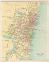 Vintage Map of Madras India (1909)