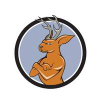 Jackalope Arms Crossed Circle Cartoon