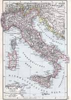 Vintage Map of Italy (1905)