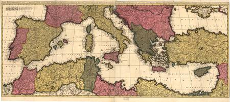 Vintage Map of The Mediterranean (1695)
