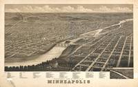 Vintage Pictorial Map of Minneapolis MN (1879)