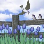 """purple martin fledges"" by sarahkdesigns"