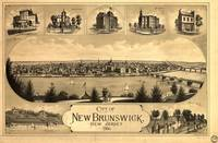 Vintage Pictorial Map of New Brunswick NJ (1880)