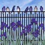 """purple martins & purple irises"" by sarahkdesigns"
