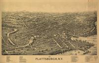 Vintage Pictorial Map of Plattsburgh NY (1899)