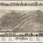 """Vintage Pictorial Map of Saginaw Michigan (1885)"" by Alleycatshirts"