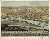 Vintage Pictorial Map of Saginaw Michigan (1867)