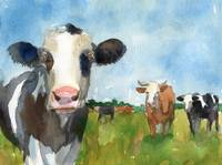 Cow art | farm animals | watercolor