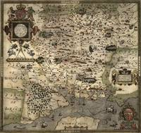 Vintage Map of Hampshire England (1575)