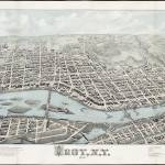 """Vintage Pictorial Map of Troy New York (1877)"" by Alleycatshirts"