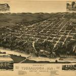 """Vintage Pictorial Map of Tuscaloosa Alabama (1887)"" by Alleycatshirts"