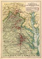 Vintage Virginia Civil War Battlefield Map (1912)