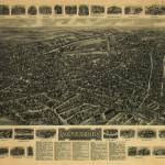 """Vintage Pictorial Map of Waterbury CT (1917)"" by Alleycatshirts"