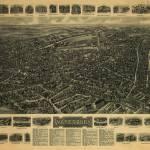 """Vintage Pictorial Map of Waterbury CT (1917)"" by Alleycatshirts"