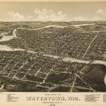 """Vintage Pictorial Map of Watertown WI (1885)"" by Alleycatshirts"