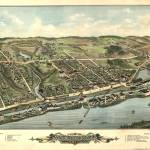 """Vintage Pictorial Map of Windsor Locks CT (1877)"" by Alleycatshirts"