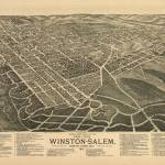"""Vintage Pictorial Map of Winston-Salem NC (1891)"" by Alleycatshirts"