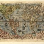"""Vintage Map of The World (1565)"" by Alleycatshirts"