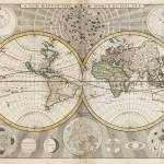 """Vintage Map of The World (1687)"" by Alleycatshirts"