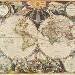 """Vintage Map of The World (1668)"" by Alleycatshirts"