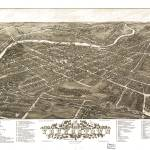"""Vintage Pictorial Map of Youngstown Ohio (1883)"" by Alleycatshirts"