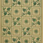 """Vintage Green Vines, Leaves and Star Blocks Design"" by Alleycatshirts"