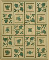 Vintage Green Vines, Leaves and Star Blocks Design