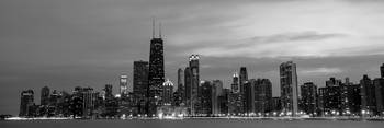 Chicago City Skyline Evening, Black and White