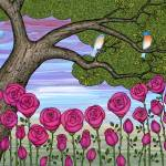 """bluebirds in the rose garden"" by sarahkdesigns"