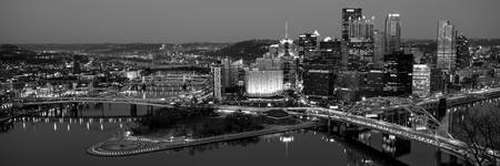 Pittsburgh City Skyline at Night, Black and White
