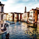 """Gondola Traffic in Venice TEXT VENICE"" by ElainePlesser"