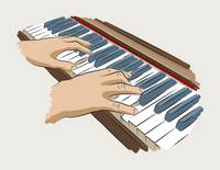 Playing piano.