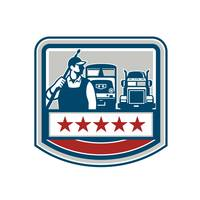 Power Washer Worker Truck Train Crest Retro