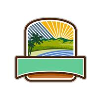 Tropical Trees Mountains Sea Coast Crest Retro