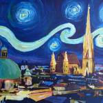 """Starry Night in Vienna Austria - Saint Stephan Cat"" by arthop77"