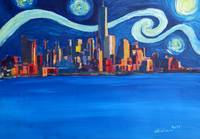 Starry Night in New York City Manhattan with Freed