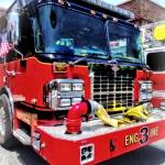 """Front of Fire Truck With Hose"" by susansartgallery"