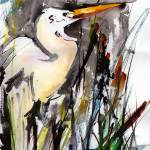 """Birds Great Egret Expressive Watercolor"" by GinetteCallaway"