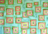 Multicolored Squares on Green Pattern