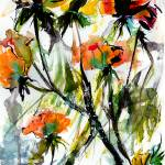 """Modern Expressive Floral Roses in Peach n Yellow"" by GinetteCallaway"