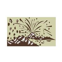 Volcano Eruption Island Woodcut