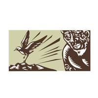 Tagaloa Looking at Plover Bird Woodcut