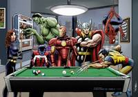 Afterhours: Marvel Superheroes Relax Playing Pool