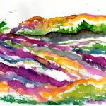 """Abstract Landscape Lavender Fields Watercolor"" by GinetteCallaway"
