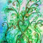 """WHIMSICAL FLOURISHES,BLUE GREEN SWIRLS WITH HEART"" by BulganLumini"
