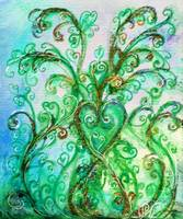 WHIMSICAL FLOURISHES,BLUE GREEN SWIRLS WITH HEART
